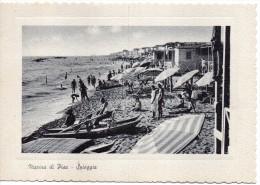 Toscana-pisa-marina Di Pisa Veduta Spiaggia Animata Bagnanti Cabine Ombrelloni Pattini Anni 50 - Italia