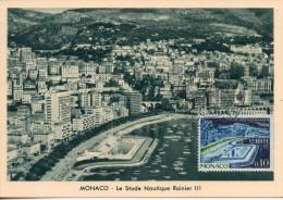 Monaco. Carte Maximum. Le Stade Nautique Rainier III. 6/6/62 - Maximum Cards