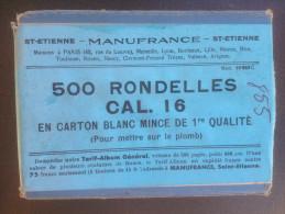- Boite De 500 Rondelles  - Calibre 16 - Gévelot - Manufrance - - Militaria