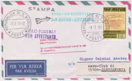 SAN MARIN - VOLO CON ELICOTTERO SAN MARINO-ALESSANDRIA 1977 - VOLO POSTALE NON EFFETUATO - HELICOPTERE - VOL - FLIGHT - Lettres & Documents