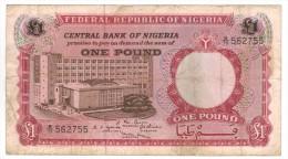 Nigeria  1 Pound, F/VF ,  Free Ship. To USA. - Nigeria