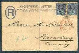 1890 GB QV Registered Letter Perfin London - Flensburg