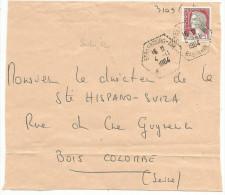 OBLITERATION MANUELLE SUR DEVANT DE LETTRE DE STRASBOURG AIR (BAS RHIN) DU 4/11/64 - Marcophilie (Lettres)