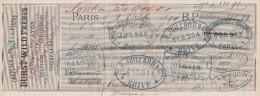 Lettre Change 1/10/1884 DURST WILD Frères Chapeaux PARIS Pour Nontron Dordogne - Nombreux Cachets Banques - Lettres De Change