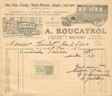 Quittance Pour Achat & Vente     A.      ROUCAYROL – Belfort     Avec Timbre Fiscal De 50 Centimes - Automobile