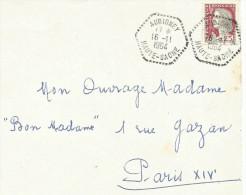 OBLITERATION MANUELLE SUR DEVANT DE LETTRE DE AUBIGNEY (HAUTE SAONE) DU 16/11/1964 - 1961-....