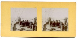 PAQUEBOT ERNEST SIMONS DINER DES ARABES BATEAU DANS LE CANAL DE SUEZ EGYPTE PHOTOGRAPHIE STEREO VIETNAM INDOCHINE - Steamers