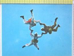 Cart.- Aviazione - Paracadutismo - Discesa A Tre. - Paracadutismo