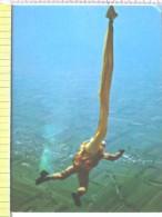 Cart.- Aviazione - Paracadutismo - Sgancio Del Paracadute Durante La Discesa. - Paracadutismo