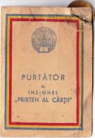 Romania, 1962, Book's Friend, Pin/Badge & Brevet (Award Document) - Unclassified