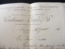 Facture De 1921 Cailleaux - Etesse à Harleville , Quincaillerie - Fers - Charbons - Articles De Ménage    BB11 - Petits Métiers