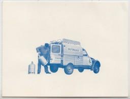 Carte Publicitaire à Volet Manufrance Saint Etienne Chargement Butagaz Dans Une Citroen Van 2 Cv - Publicité