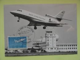 CARTE MAXIMUM CARD MYSTERE FALCON 900 OSI MERIGNAC FRANCE - Airplanes