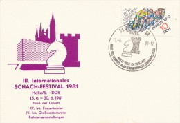 K2479 - DDR (1981) 4011 Halle 11: III. International Chess Festival - Scacchi