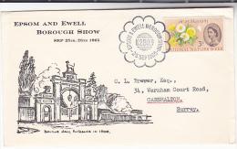 1965 GB Stamps COVER EPOSM EWELL BOROUGH SHOW EVENT  Illus BOURNE HALL, DOG - 1952-.... (Elizabeth II)