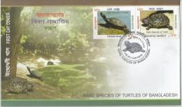 Endangered Animals, Bangladesh 2011 Pictorial FDC - Rare Species Of Turtles Of Bangladesh - Tartarughe