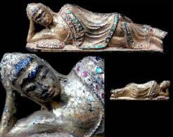 Ancienne Belle Statue De Bouddha Couché / Old Burmese Sleeping Buddha - Asian Art