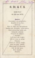Menu Aout 1869 Pour Madame Jacobs Epouse Du Ministre Catholique - Menus