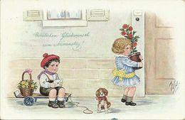 AK Namenstag Kinder Hund Brief Blumen Farblitho WSch 1918 FP #25 - Anniversaire