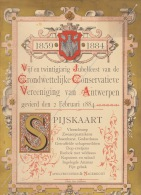 Rare Grand Politique Belge 1884 Anvers Antwerpen Grondwettelijke Conservatieve Vereeniging - Menus