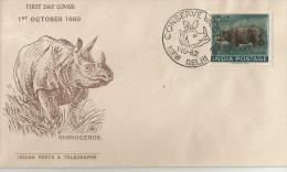 Inde India 1962 FDC Wild Animals Rhinoceros, Mammals - Rhinozerosse