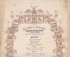 Rare Grand Menu Politique Belge 1876 Catholique à Malines Du Fond Du Ministre Jacobs - Menus