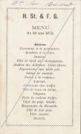 Menu Maçonnique Franc Maçon Mai 1873 - Menus