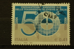 ITALIA USATI 2004 - 50° TRASMISSIONI TELEVISIVE  - SASSONE 2735 - RIF. M 0351 - 6. 1946-.. Repubblica