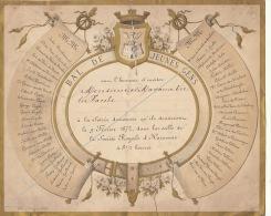 Rare Menu 1872 Bal De Jeunes Gens à Jacobs Ministre Belge - Menus