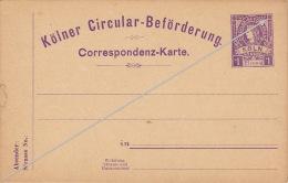 Köln Circular Beforderung Poste Privée Correspondenz Karte 1 Pfennig - Sello Particular