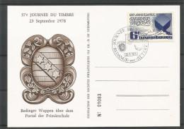 CARTE COMMEMORATIVE 37e JOURNEE DU TIMBRE REDANGE-SUR-ATTERT TP N° 975 (CACHET POSTAL DE REDANGE-SUR-ATTERT)(SCAN VERSO) - Cartoline Commemorative