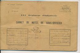 CARNET DE NOTES DE SOUS-OFFICIER - ADJ/C L.. 124 Eme RGT D´INFANTERIE - (1902 1914) - Documents