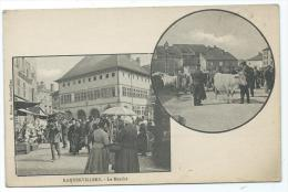 CPA TRES ANIMEE RAMBERVILLERS, LE MARCHE, DOUBLE VUE, VOSGES 88 - Rambervillers