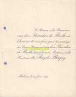 FAIRE PART MARIAGE BARON VAN DEN BRANDEN DE REETHE DU ROY DE BLICQUY MALINES MECHELEN 1898 - Mariage