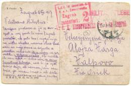 K.u.k. Reservospital Zagreb Militarpflege Pmk On WWI Censored Postcard Schubert Sent To Valpovo 1917 BB151109 - Militaria