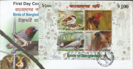 Bangladesh 2010 Miniature Sheet On FDC Birds Of Bangladesh, House Sparrow, Red Munia, Dove, Myra, Bird, - Uccelli