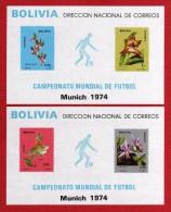 1974 - Bolivia - Munich 74 - Mi. BL 38/39 - MNH - VC 100 € - BO-093 - 02 - Coppa Del Mondo