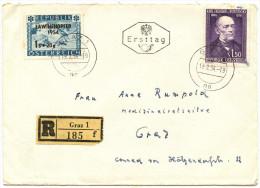 Austria 1954 Rokityansky / Lawinenopfer Registered FDC Travelled Locally Graz BB151109 - FDC