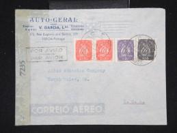 PORTUGAL - Enveloppe Avec Obl. C.T.T. S. José Pour Les U.S.A. En 1945 Avec Controle Postal - A Voir - Lot P12381 - 1910-... République