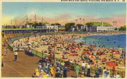 Boardwalk And Beach, Playland, Rye Beach, New York. C.t. Art-colortone - New York City