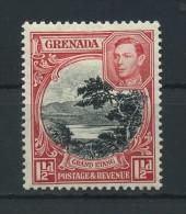 GRENADA   1938     1 1/2d  Black  And  Scarlet     Perf  12 1/2 X 13 1/2        MH - Grenada (...-1974)