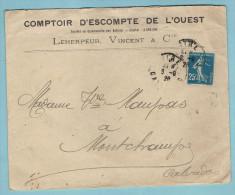 """N° 140 Sur Lettre """"comptoir D´escompte De L´ouest  Leherpeur , Vincent & Cie """" ; CàD De Vire Du 06-08-1920 - Matasellos Manuales"""