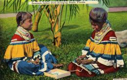 Seminole Indian Girls Stringing Beads - United States