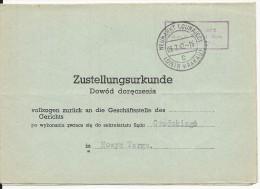 POLOGNE - 1942 - LETTRE RECEPISSE RECEPTION D´UNE LETTRE FERMEE (JUSTICE) De NEUMARKT (DIJNAJEC) - CRACOVIE - 1939-44: 2. WK