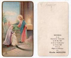Valençay, Image Pieuse Communion Solennelle Et Confirmation Ginette Moulins, 1937 - Images Religieuses