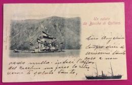 UN SALUTO DA BOCCHE DI CATTARO - SCOGLIO S.GIORGIO  - 1898 ANNULLI DI TIVAT TEODO + POLA - Montenegro
