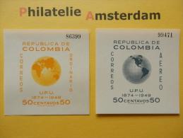 Colombia 1950, 75 ANN. UPU: Mi 597-98, Bl. 4-5, ** - Colombia