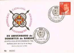 15568. Tarjeta Exposicion Barcelona 1978. Donantes De Sangre. Donadors De Sang - 1931-Hoy: 2ª República - ... Juan Carlos I