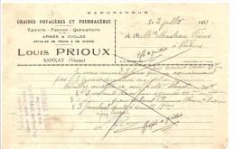 Louis PRIOUX Gaines Potagères Et Fouragères Epicerie Faïence Quicaillerie à  SANXAY (86) De 1931 - Petits Métiers