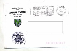 Lettre Franchise Flamme Altkirch Musee   Entete Mairie Aspach - Marcophilie (Lettres)